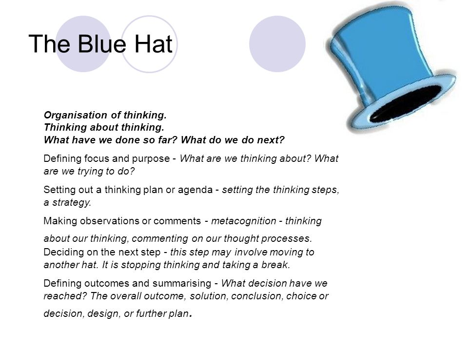 The Blue Hat Organisation of thinking. Thinking about thinking. What have we done so far What do we do next