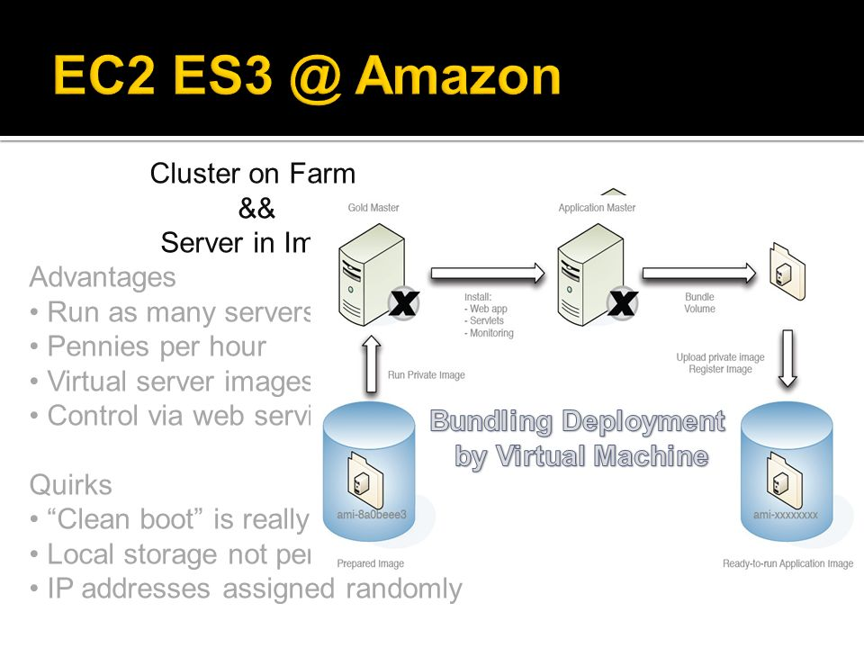 EC2 Amazon Cluster on Farm && Server in Image Advantages