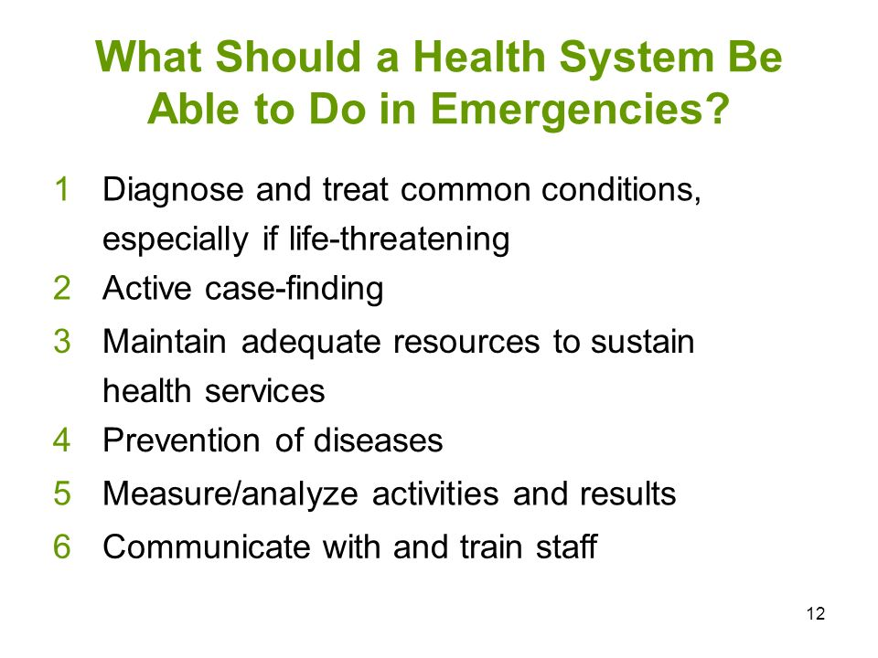 What Should a Health System Be Able to Do in Emergencies