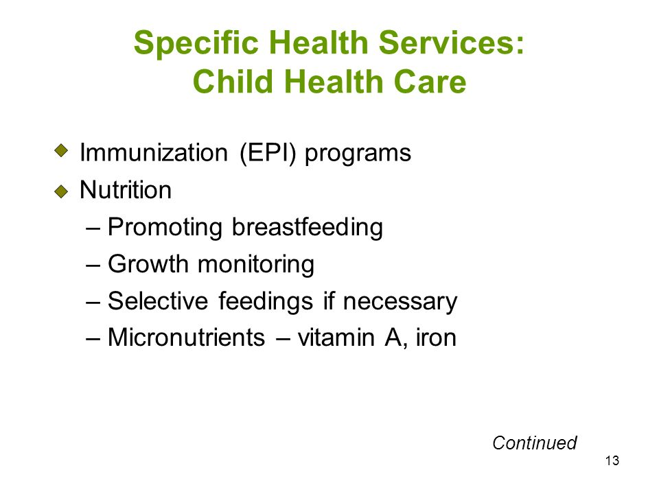 Specific Health Services: Child Health Care