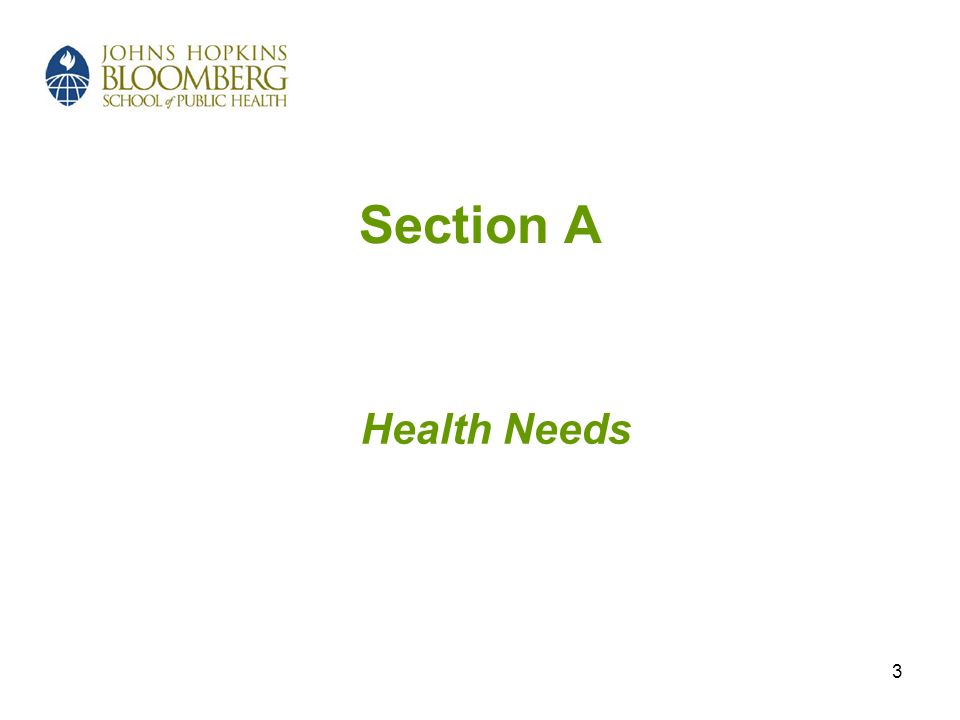 Section A Health Needs