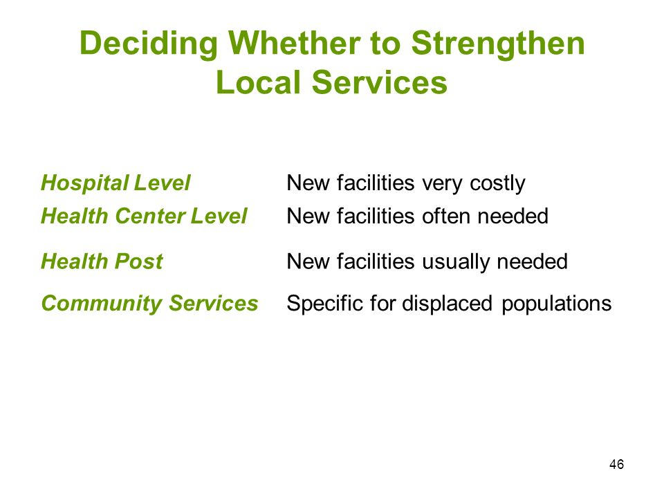 Deciding Whether to Strengthen Local Services