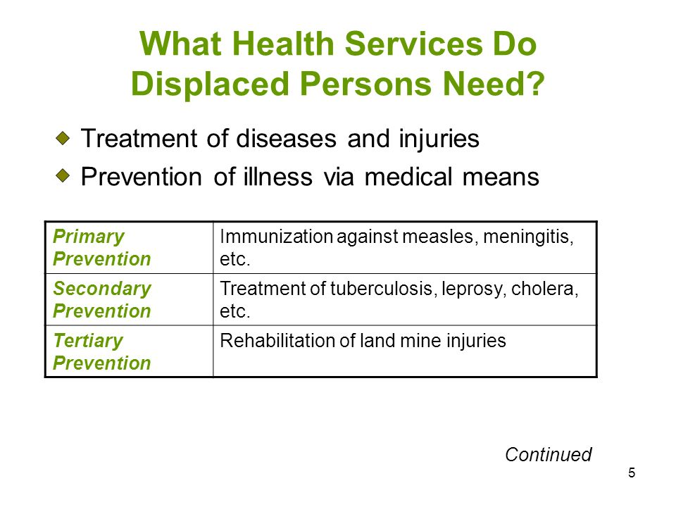 What Health Services Do Displaced Persons Need