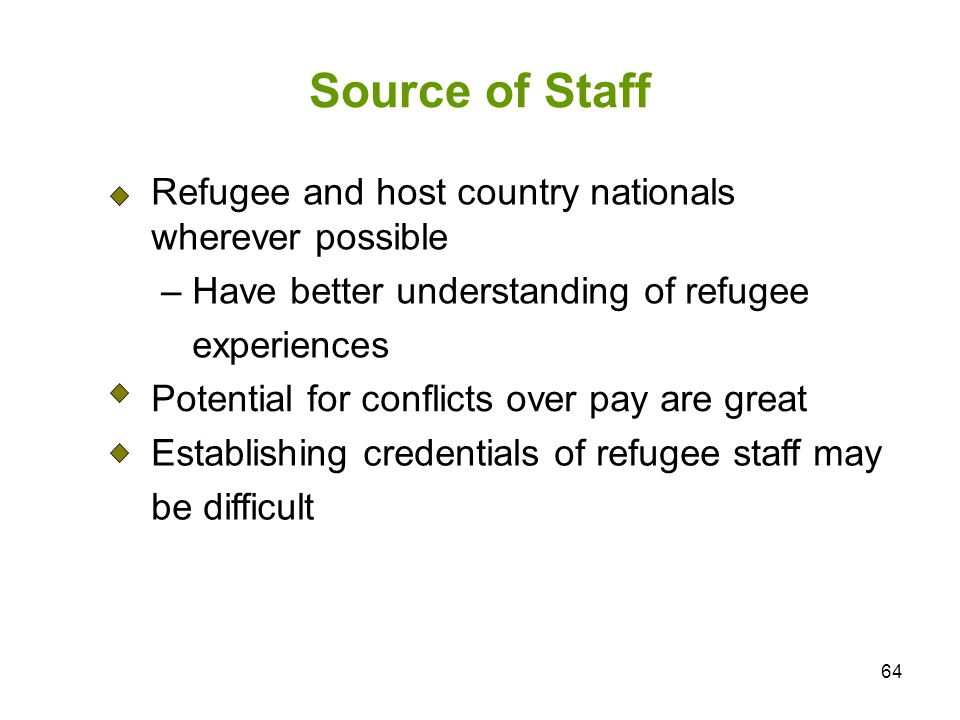 Source of Staff Refugee and host country nationals wherever possible