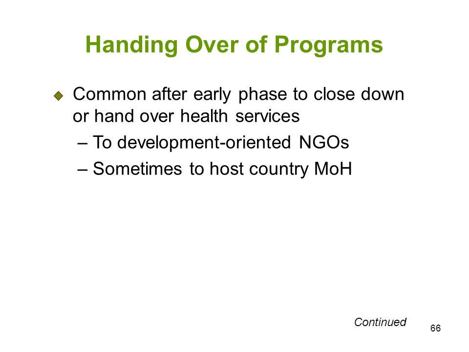 Handing Over of Programs