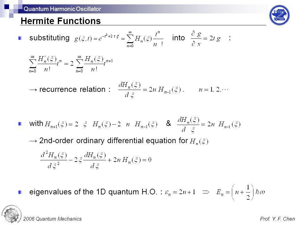 Hermite Functions substituting into : → recurrence relation: with &