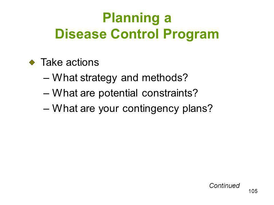 Planning a Disease Control Program
