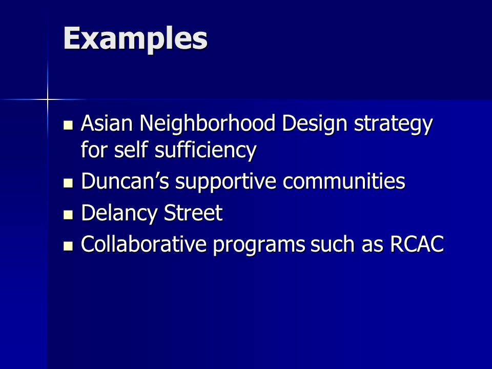 Examples Asian Neighborhood Design strategy for self sufficiency