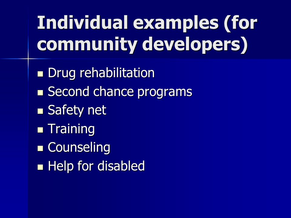 Individual examples (for community developers)