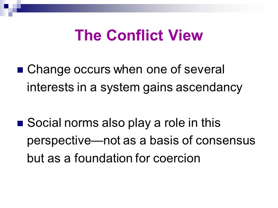 The Conflict View Change occurs when one of several