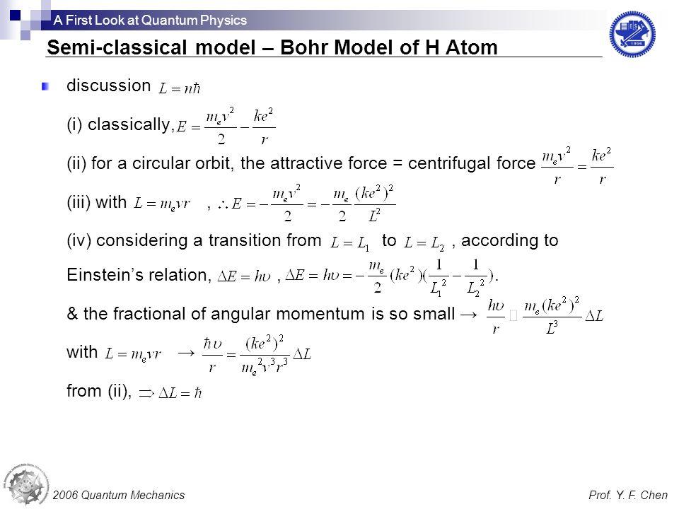 Semi-classical model – Bohr Model of H Atom