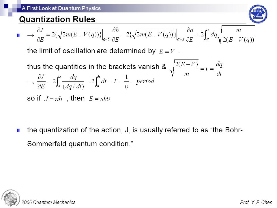Quantization Rules → the limit of oscillation are determined by .
