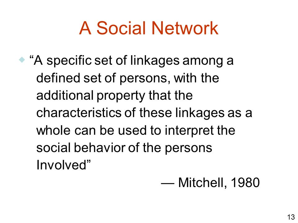 A Social Network ◆ A specific set of linkages among a