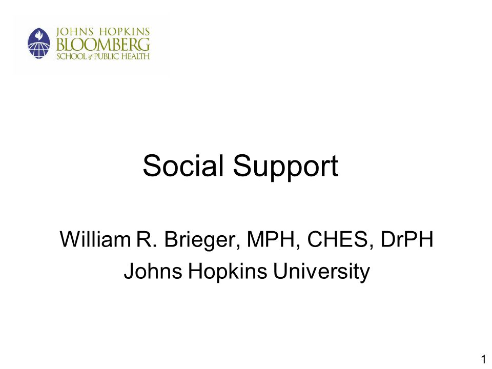 Social Support William R. Brieger, MPH, CHES, DrPH