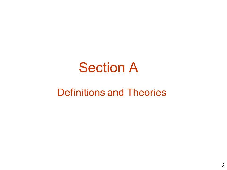Definitions and Theories