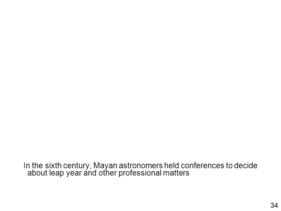 In the sixth century, Mayan astronomers held conferences to decide about leap year and other professional matters