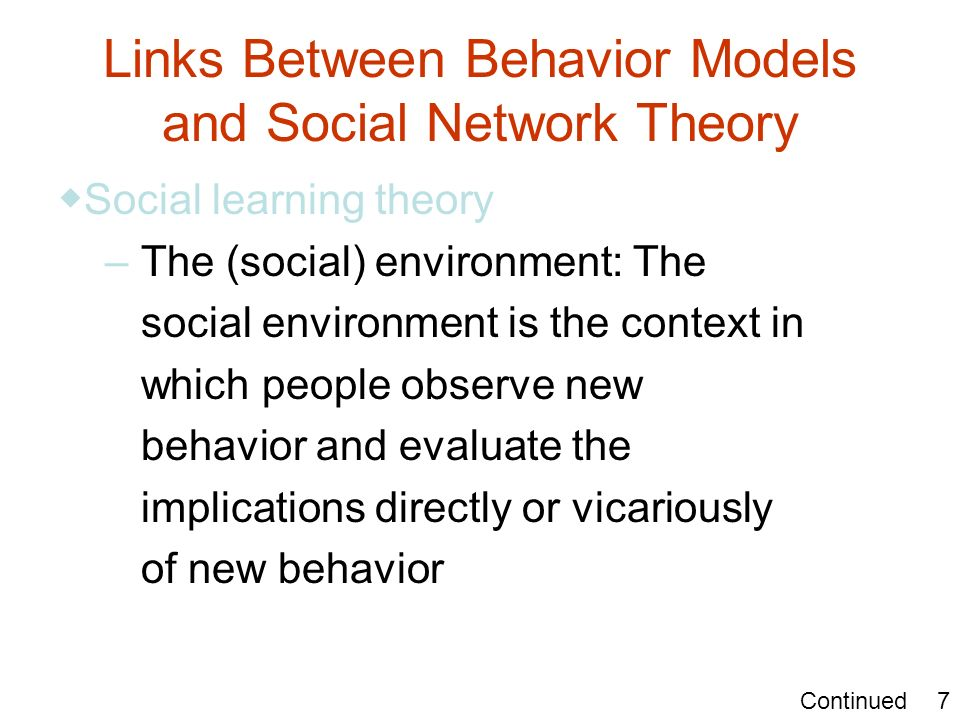 Links Between Behavior Models and Social Network Theory