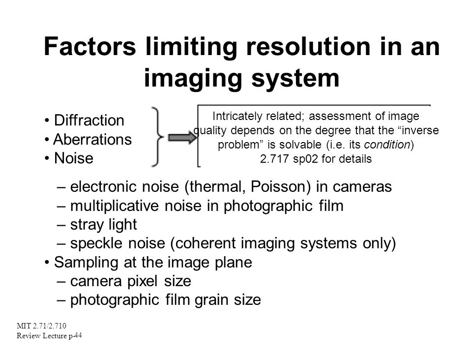 Factors limiting resolution in an imaging system