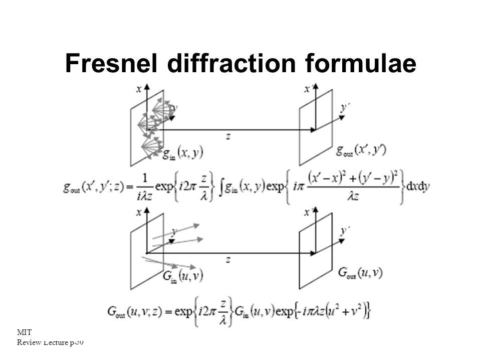 Fresnel diffraction formulae