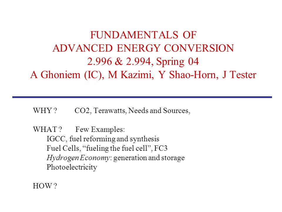 FUNDAMENTALS OF ADVANCED ENERGY CONVERSION & 2