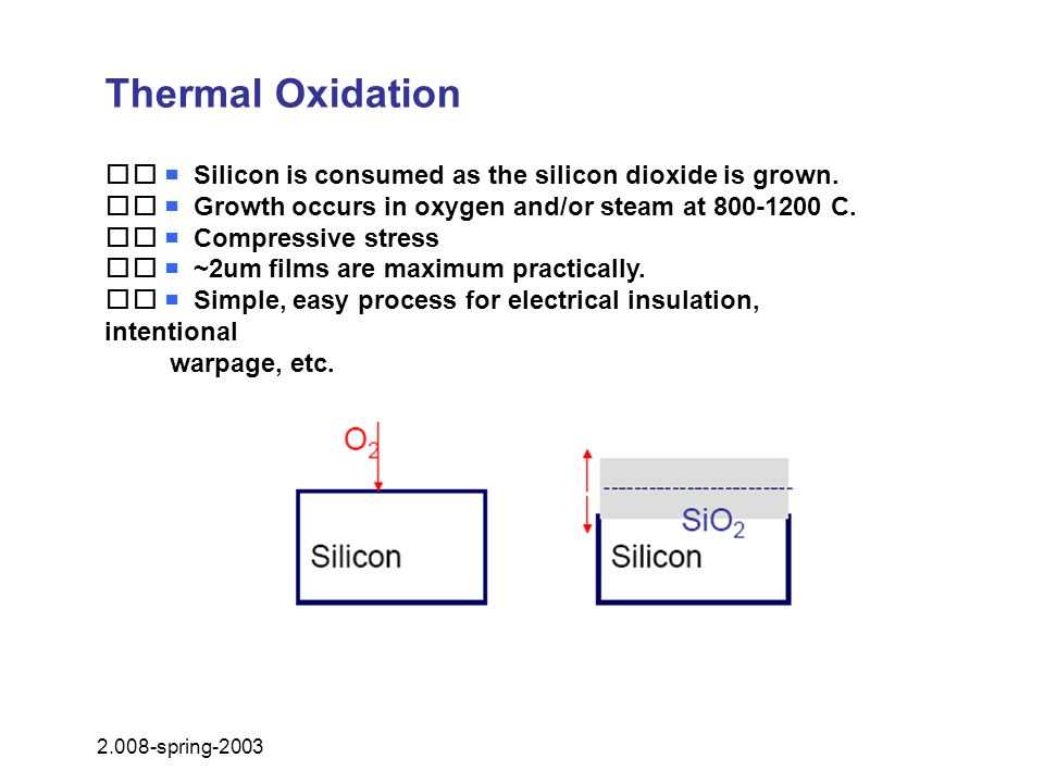 Thermal Oxidation   Silicon is consumed as the silicon dioxide is grown.   Growth occurs in oxygen and/or steam at 800-1200 C.