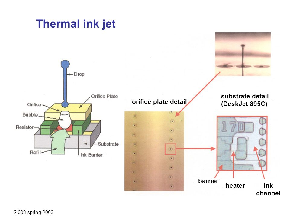 Thermal ink jet substrate detail (DeskJet 895C) orifice plate detail