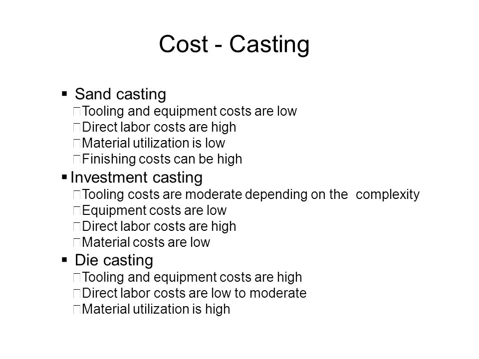 Cost - Casting Sand casting Investment casting Die casting