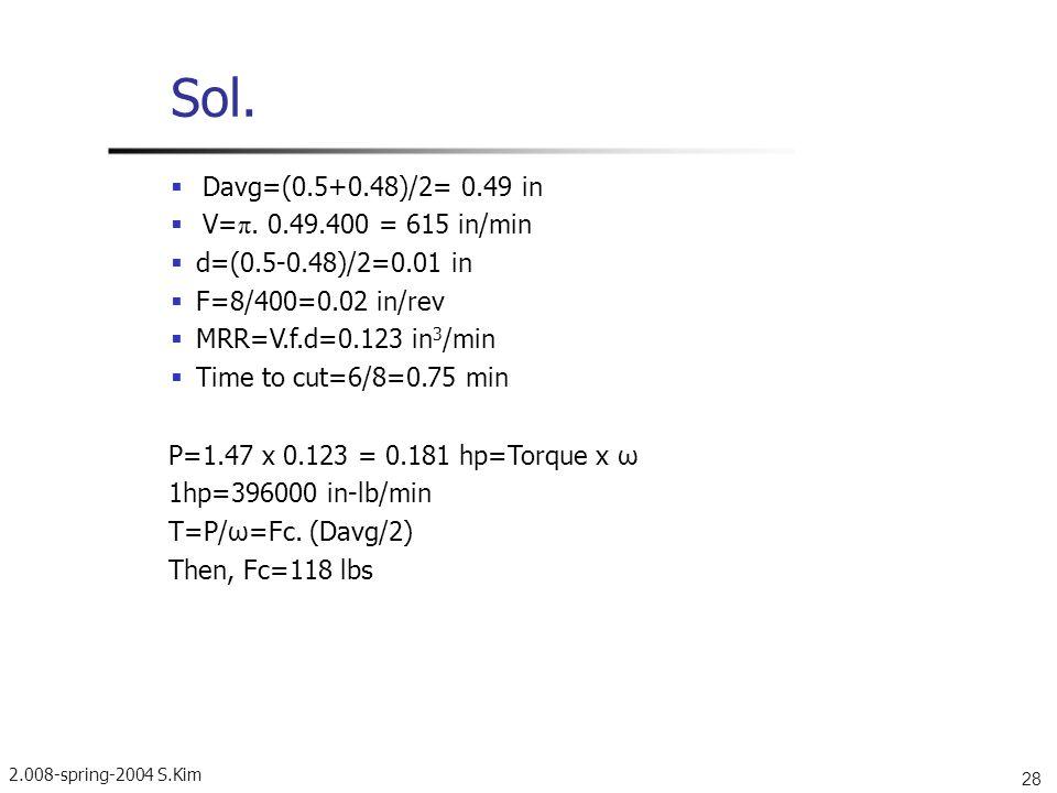 Sol.  Davg=(0.5+0.48)/2= 0.49 in  V=π. 0.49.400 = 615 in/min