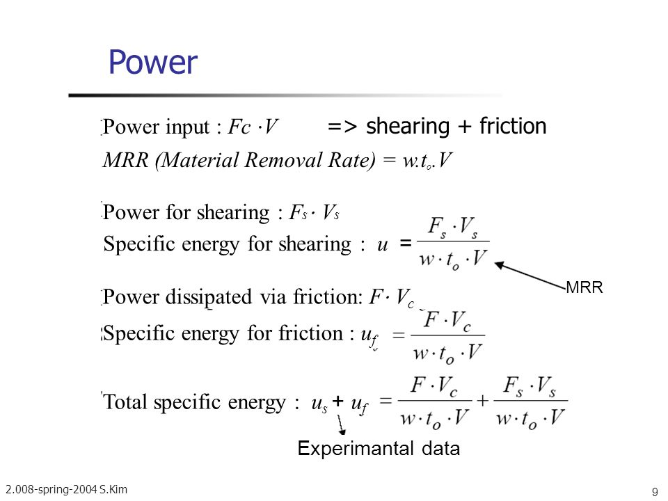 Power Power input : Fc ⋅V => shearing + friction