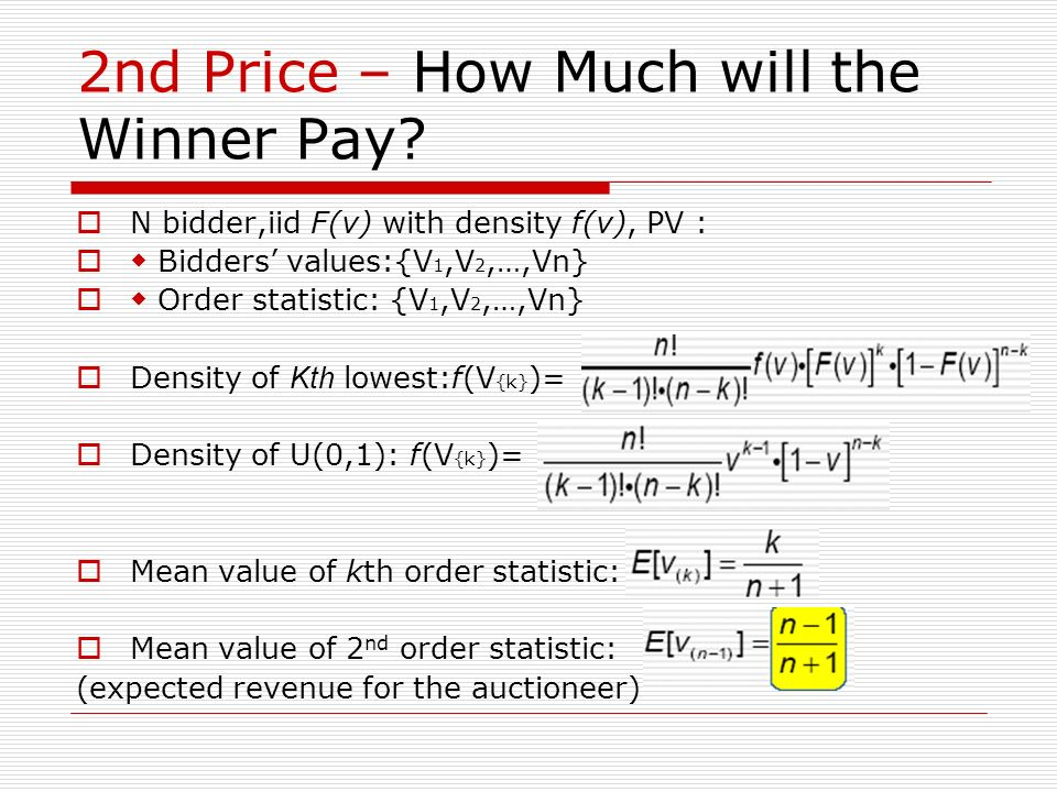 2nd Price – How Much will the Winner Pay