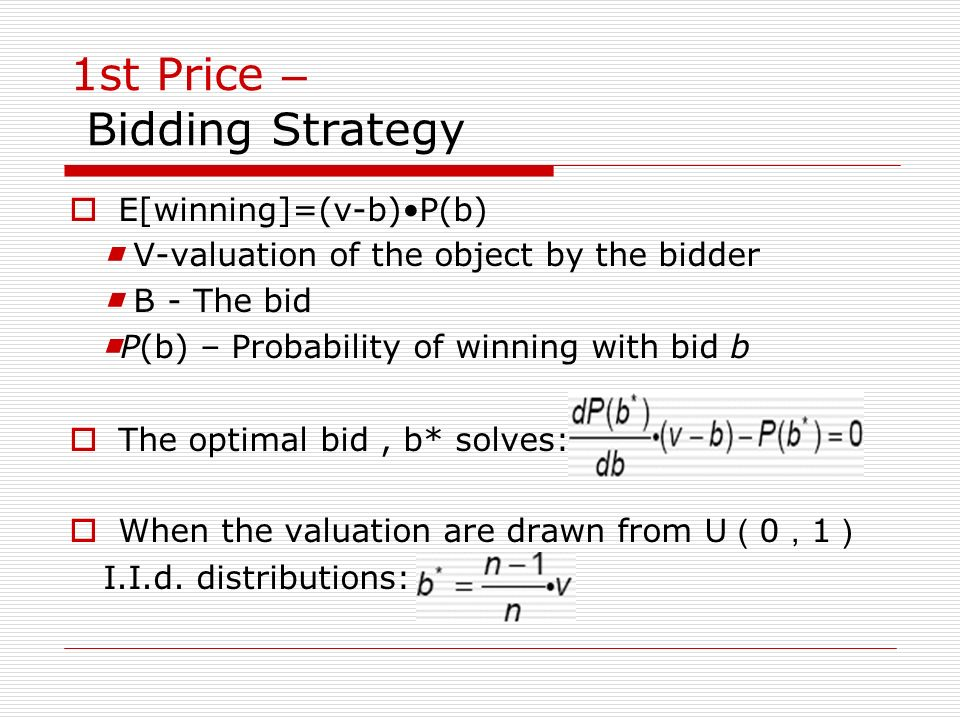 1st Price – Bidding Strategy