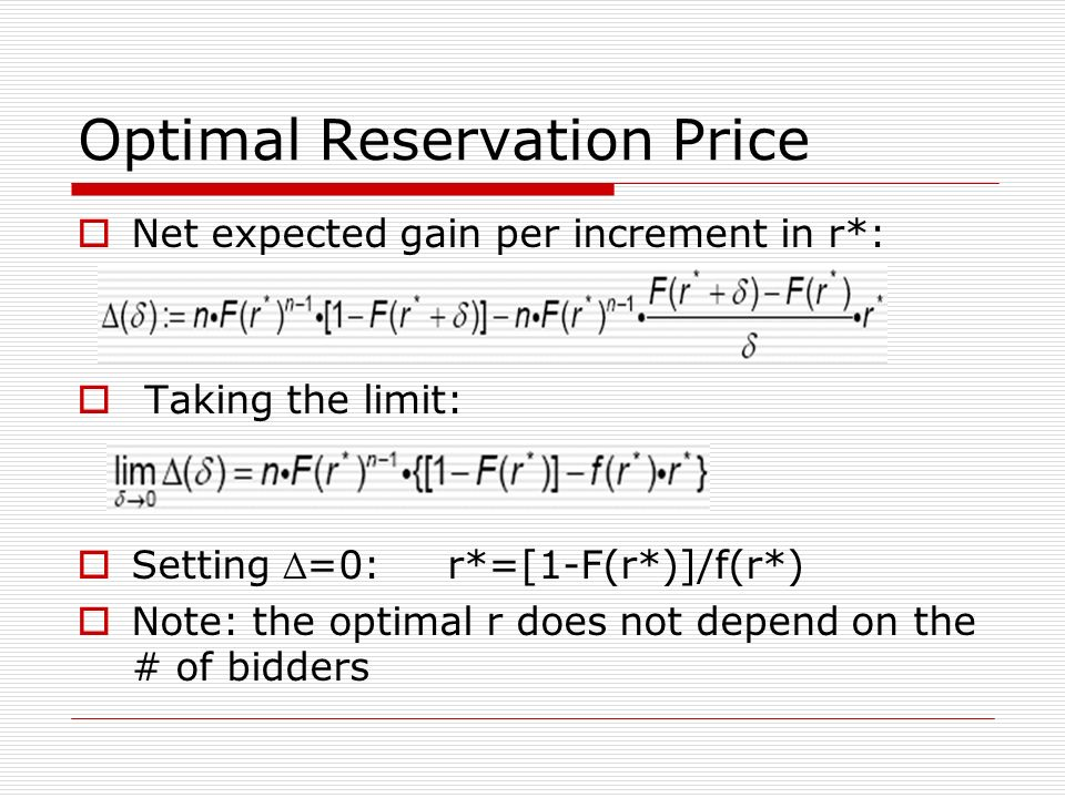 Optimal Reservation Price