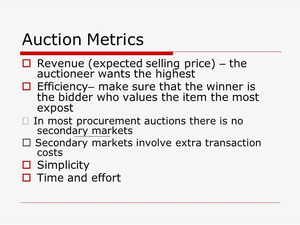 Auction Metrics Revenue (expected selling price) – the auctioneer wants the highest.