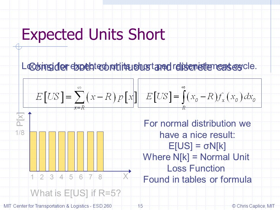 Expected Units Short Consider both continuous and discrete cases