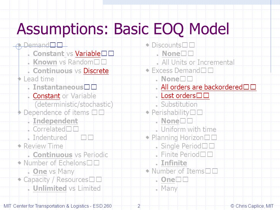 Assumptions: Basic EOQ Model