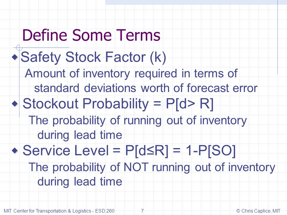 Define Some Terms ◆ Safety Stock Factor (k)