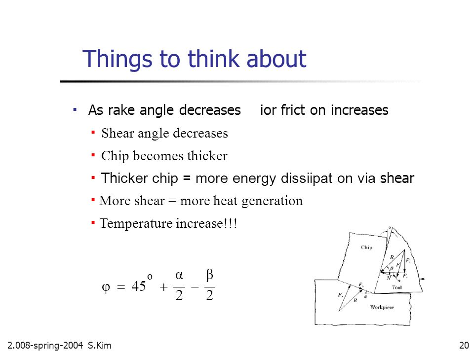 Things to think about ▪ As rake angle decreases ior frict on increases