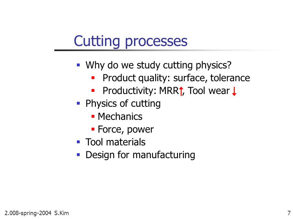 Cutting processes  Why do we study cutting physics