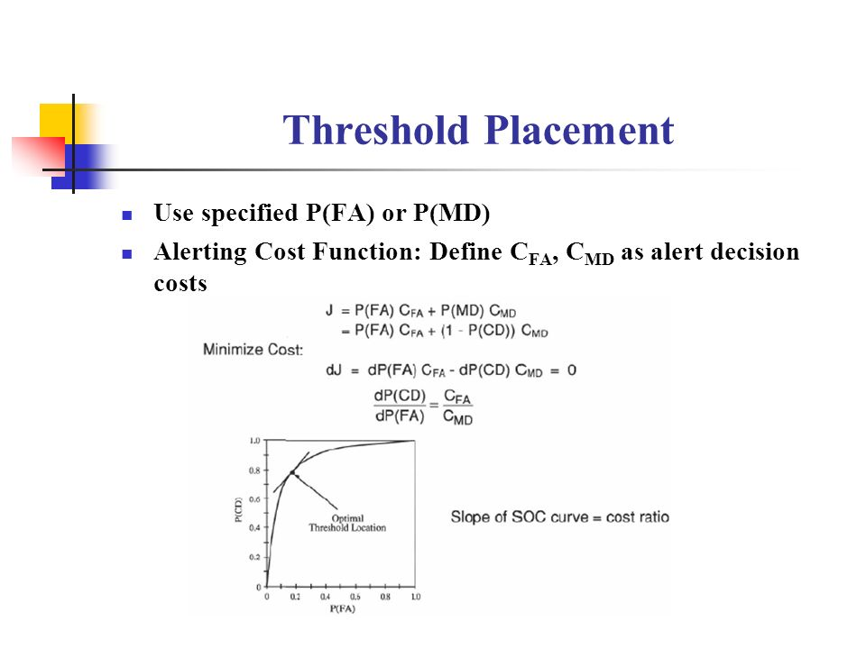 Threshold Placement Use specified P(FA) or P(MD)