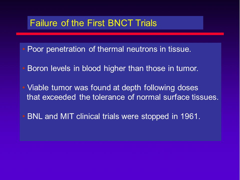 Failure of the First BNCT Trials
