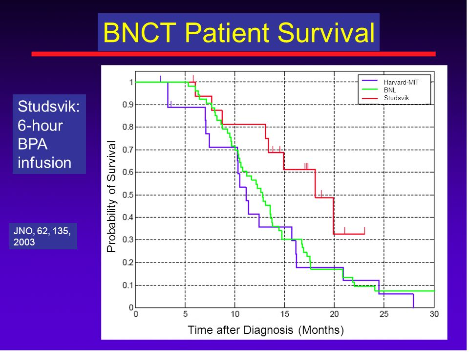 BNCT Patient Survival Studsvik: 6-hour BPA infusion