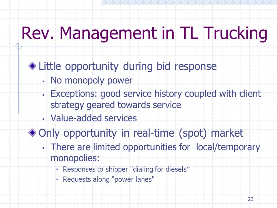 Rev. Management in TL Trucking