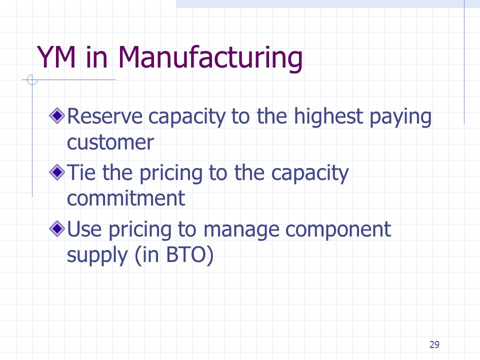 YM in Manufacturing Reserve capacity to the highest paying customer
