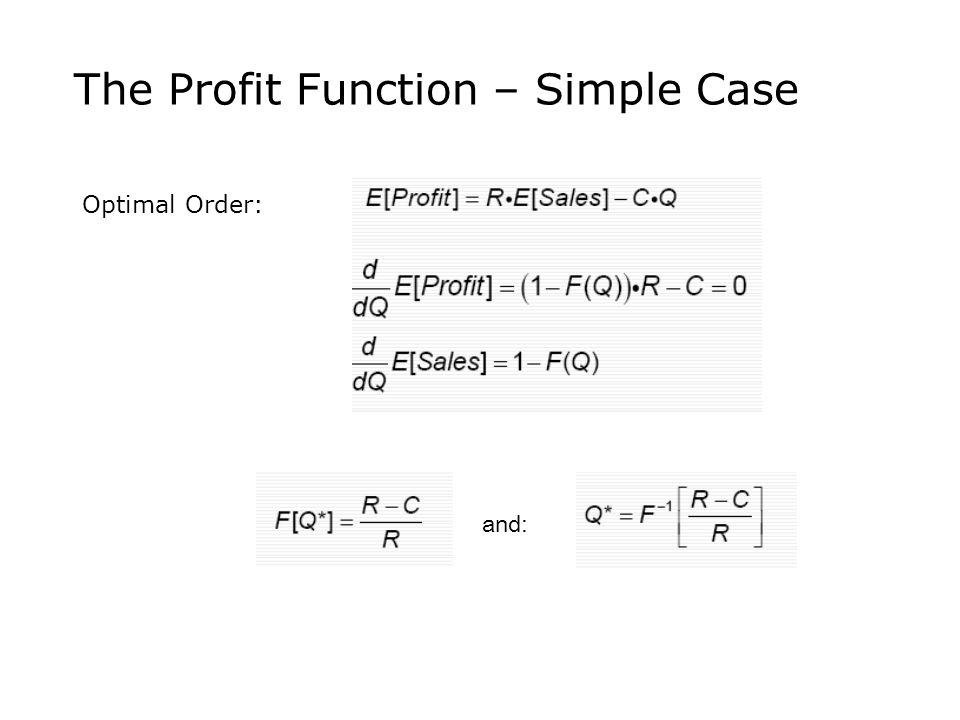 The Profit Function – Simple Case