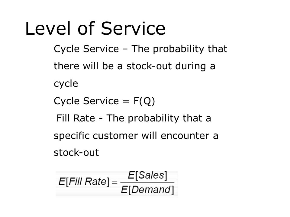 Level of Service Cycle Service – The probability that