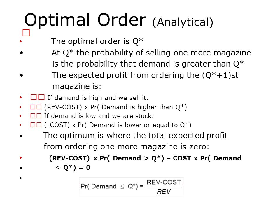 Optimal Order (Analytical)