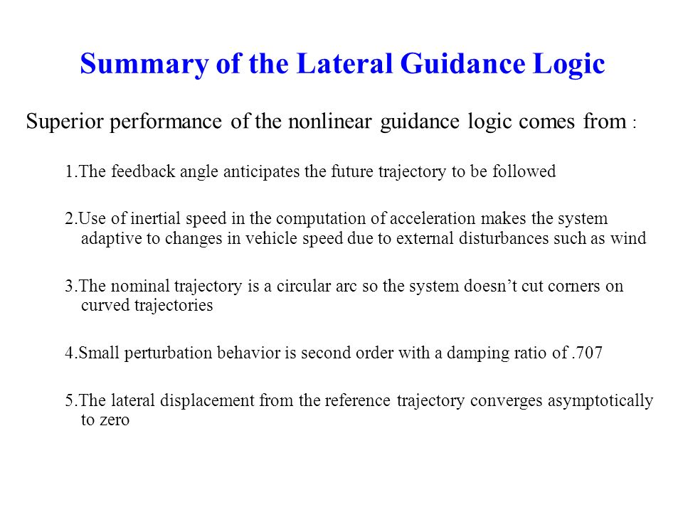 Summary of the Lateral Guidance Logic