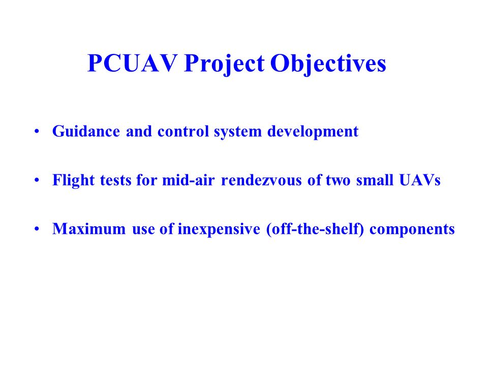 PCUAV Project Objectives