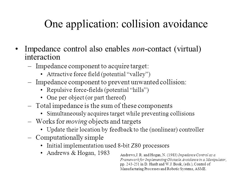 One application: collision avoidance