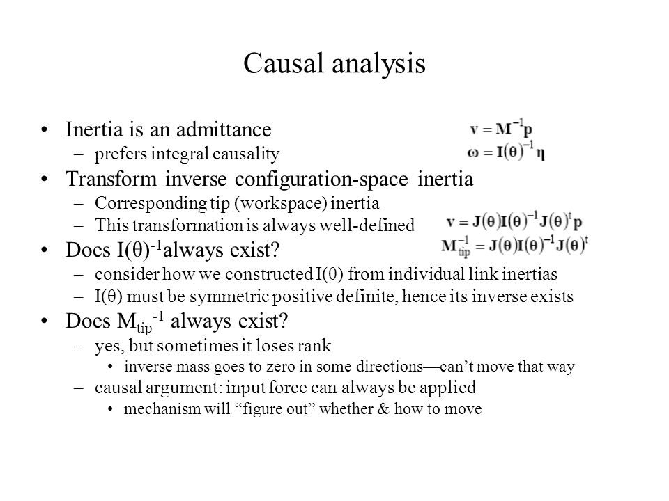 Causal analysis Inertia is an admittance